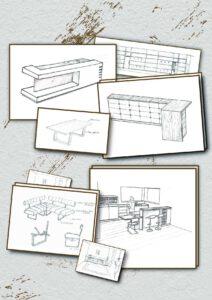 Skizzen von Inneinrichtung und Möbeln
